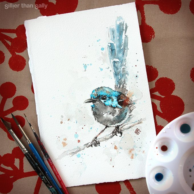 water colour art, fairy-Wren, Variegated fairy-wren, bird art, whimsical, cute, blue, Sillier Than Sally Art