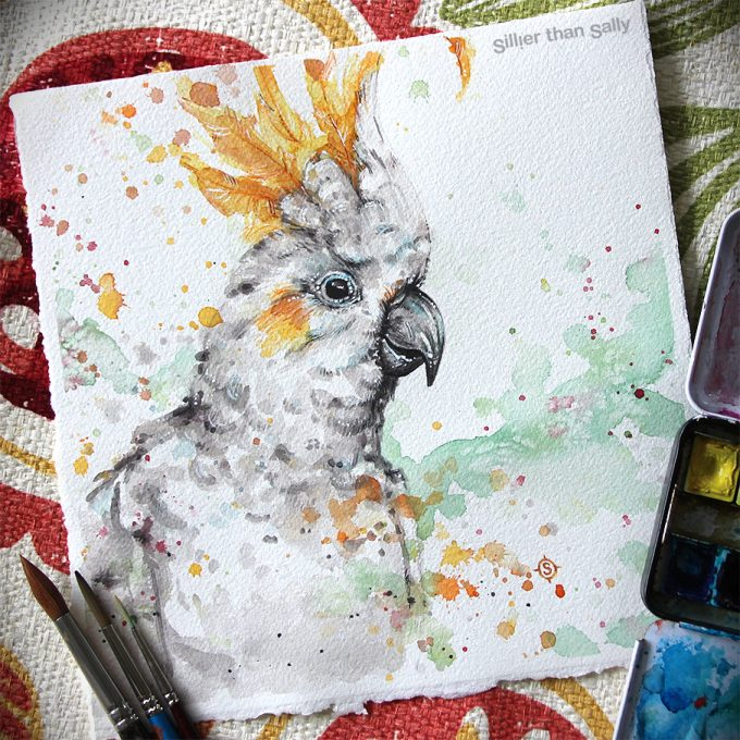 water colour art, cockatoo, bird art, cute, Sillier Than Sally Art