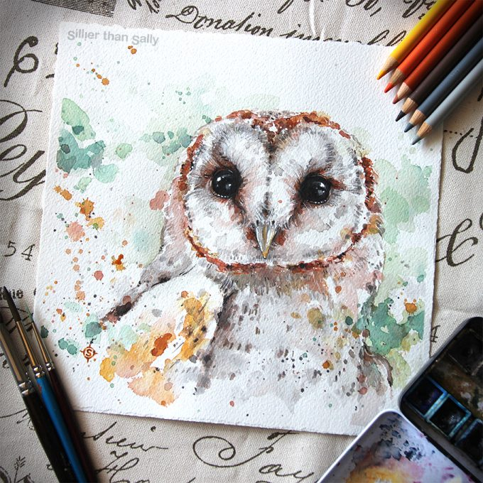 water colour art, Australian Barn Owl, owl, bird art, cute, Sillier Than Sally Art