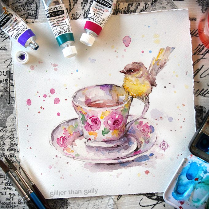 sparrow sitting on teacup, water colour art by Sillier Than Sally