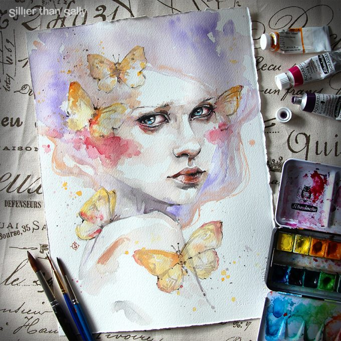 water colour art, watercolour art, butterflies, fashion