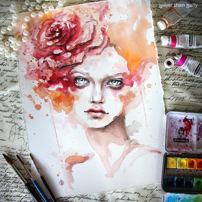water colour art, watercolour art, flower, watercolour flowers, orange, fashion, Sillier Than Sally Art