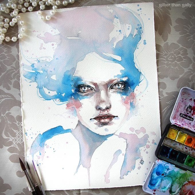 water colour art, watercolour art, eyes, blue, water nymph, fashion, Sillier Than Sally Art