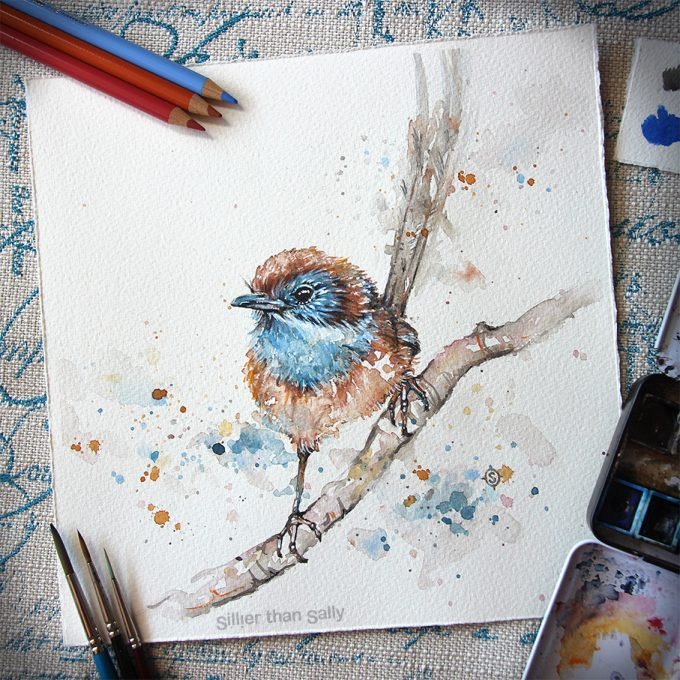 water colour art, Mallee emu-wren, bird art, whimsical, cute, blue, Sillier Than Sally Art