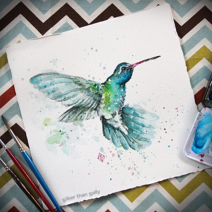 water colour art, Hummingbird, bird art, whimsical, cute, blue, Sillier Than Sally Art