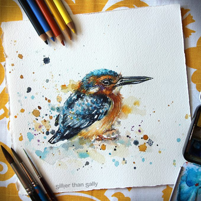 water colour art, Kingfisher, Azure kingfisher, bird art, whimsical, yellow, cute, blue, Sillier Than Sally Art