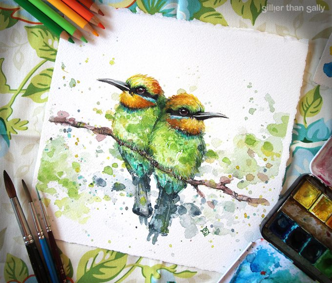 water colour art, Rainbow bee-eaters,, bird art, whimsical, yellow, cute, blue, bright, colourful, Sillier Than Sally Art