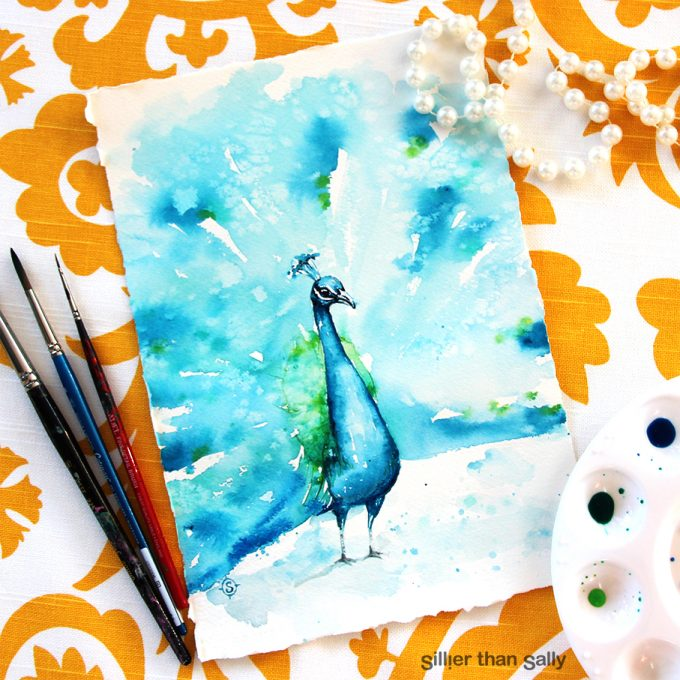 water colour art, peacock, bird art, whimsical, yellow, cute, blue, bright, colourful, Sillier Than Sally Art