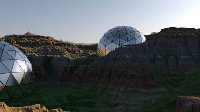 Mysterical UFO concepts 3D generated terrain and modelling
