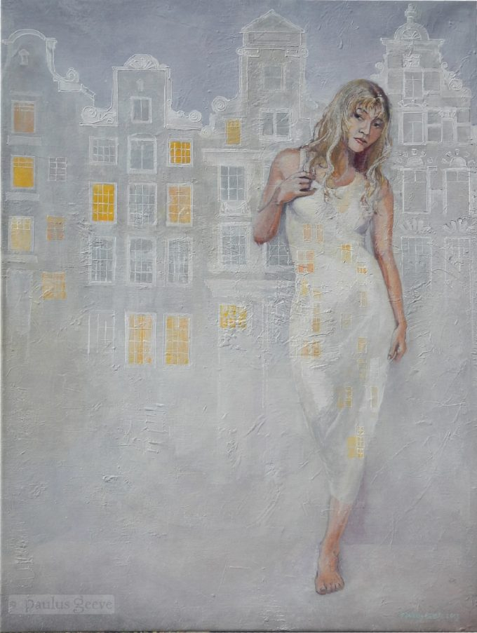 white dress , lights in the mist