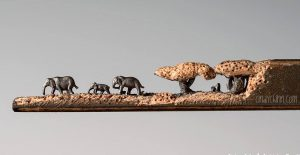 Elephant Art Carved From a Pencil Lead by Cindy D. Chinn