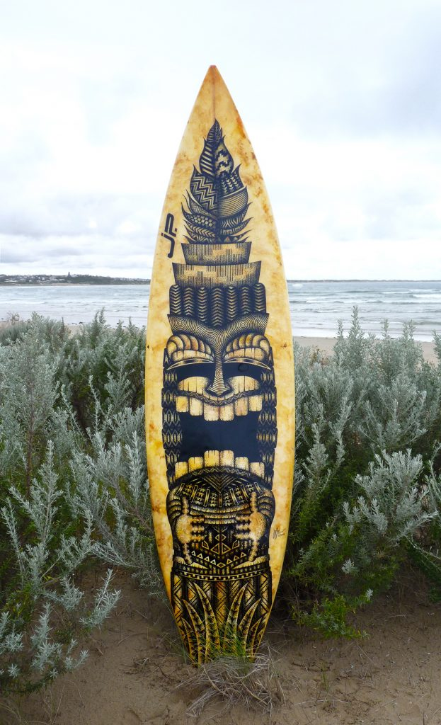 Tiki,Old surfboards given new life as artwork,#artpeople