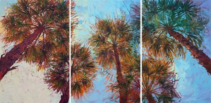 Looking up into these palm fronds in La Quinta, California inspired this colorful triptych painting. Each panel captures the movement and texture of the palms, while the changing light reflects different colors through the fronds. The brush strokes are thick and impressionistic, creating a mosaic of color and texture across the canvas.