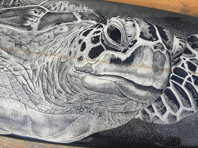 Sea Turtle, close up,Old surfboards given new life as artwork