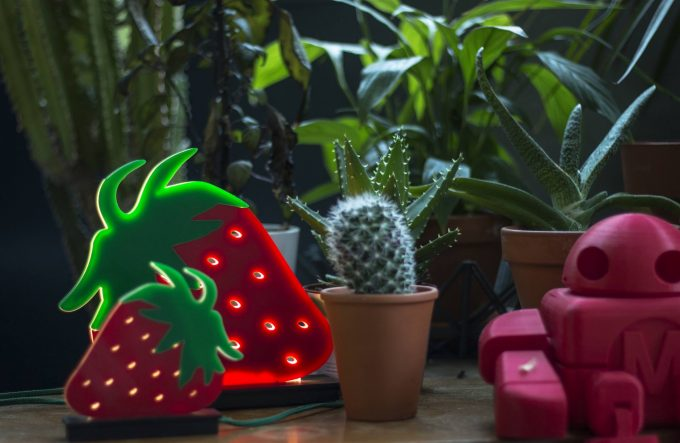 strawberry lamps in two different sizes