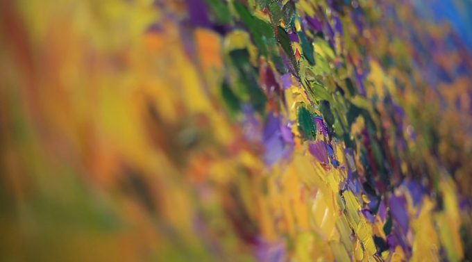 You can see, the kind of abstract shapes of the paint as they are layered onto the canvas.