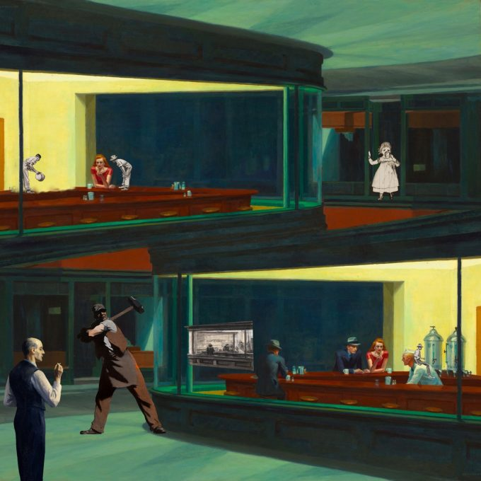 "Remix digital collage by iuri kothe date started: 20160620 date finished: 20160625 size: 3600 x 3600 pixels (@ 300dpi = 12 inch or 30cm or vinyl size) sources: [background] Edward Hopper - Nighthawks [1942] https://en.m.wikipedia.org/wiki/File:Nighthawks_by_Edward_Hopper_1942.jpg [dude w/ hammer] Edward Hopper - The Morse Dial, February [1919] http://hagleyvault.org/post/55510238368/the-hagley-vault-has-reached-100-followers-on [dude w/ bucket] Edward Hopper - Study of a Man Emptying Bucket [?] http://collection.whitney.org/object/6815 [nighhawks drawing] Edward Hopper - Study for Nighthawks [1941 or 42] http://collection.whitney.org/object/38986 [dudes: bent-over & seated] Edward Hopper - Two Studies: Seated Farmer and Bent-over Farmer [?] http://collection.whitney.org/object/9275 [old man smoking] Edward Hopper - Hotel by a Railroad [1952] https://www.flickr.com/photos/gandalfsgallery/22377794540 [girl] Edward Hopper - Study of Little Girl Drinking [1892-95] http://collection.whitney.org/object/31373 made with Apple iPad Pro 12.9"" 2015 / Apple Pencil / Pixelmator app"