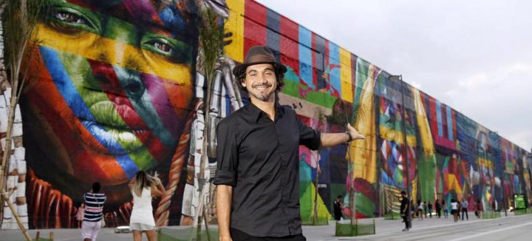 3,000 square meter mural for the rio olympics by Eduardo Kobra.