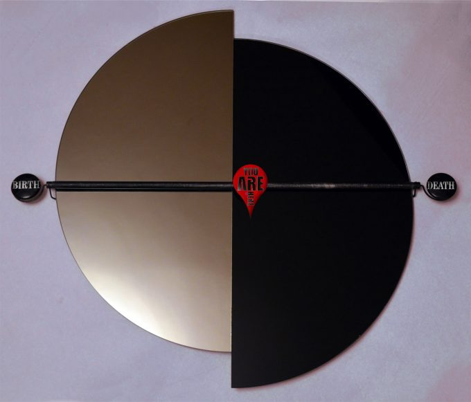 """Life clock"". Mirror, glass, steel. Size: 59 H x 54 W x 7 cm, 2015"