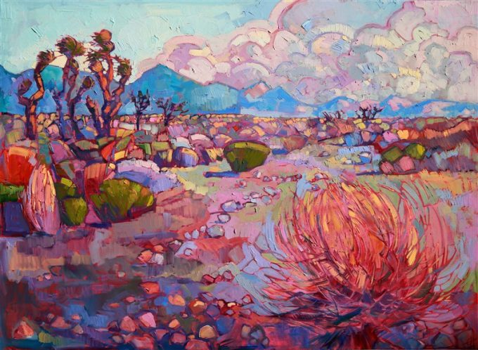 This painting lingers on the many years of fond memories the artist had living near Red Rock Canyon in Nevada. The cool autumn colors have a dreamlike effect in this hot desert.