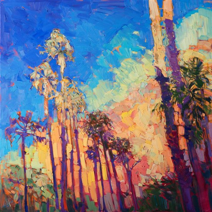 Desert dawn light strikes these palms with a vibrancy that seems to move on the canvas. The colors in the sky are as saturated as real life, while the abstracted nature of the painting draws one into the realm of imagination. The brush strokes are loose and impressionistic.