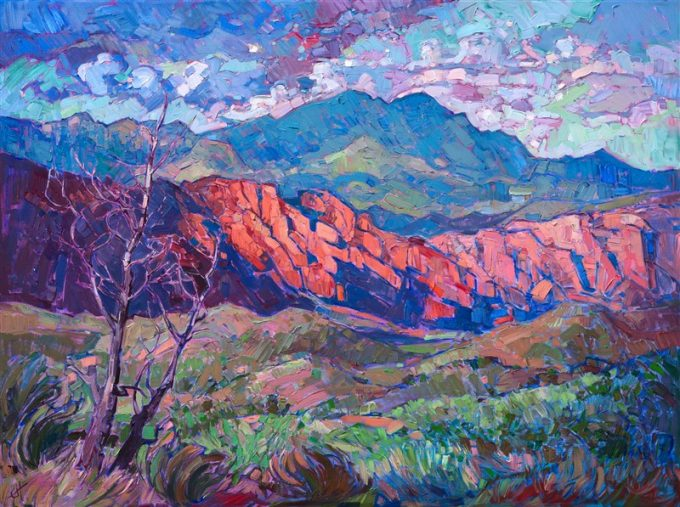 Kayenta is a stunning mountainside community near St. George, Utah. The brilliant red rock cliffs are a striking contrast against the desert screen scrub and sagebrush. The dramatic clouds in this scene cast every-changing light across the variegated landscape below, and this sense of movement is captured in the energetic and textured brush strokes.