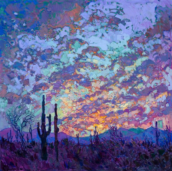The bold color of desert dusk saturates this Arizona landscape. The lively brush strokes create an impression of movement and light, capturing the emotional quality of seeing a beautiful sunset in person. This painting was inspired by the landscape near Saguaro National Park, in Arizona.