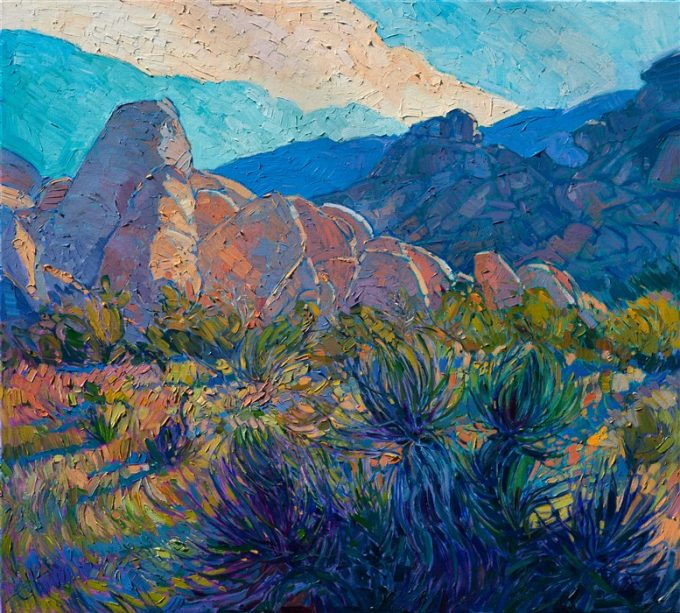 Joshua Tree National Park is filled with unique, white granite boulders that reflect and capture the desert's changing light. The yucca plants and Joshua trees look beautiful in the cool colors of dawn.