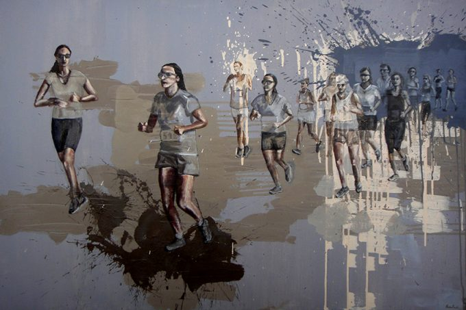 Ladies Run Athens - 80x120cm Acrylics on cotton canvas