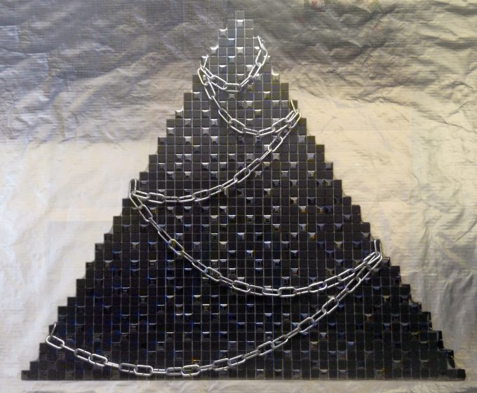 """My true existential New Year's tree"". Glass mosaic on fiberboard and plastic chain. Size: 110 H x 126 W x 10 cm, 2015"