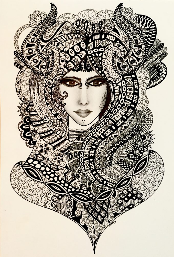 Original hand drawn zentangle style pen art.