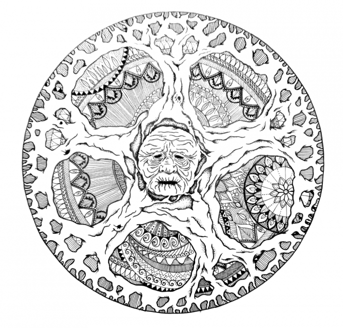 mandala tree mask