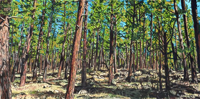"Ponderosa Forest, Gouache on Paper, 5.5 x 11"" 2016"