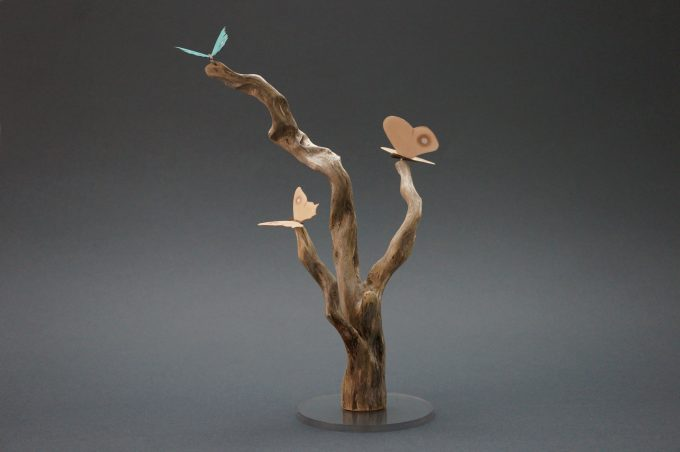 Three Butterflies sitting on Driftwood