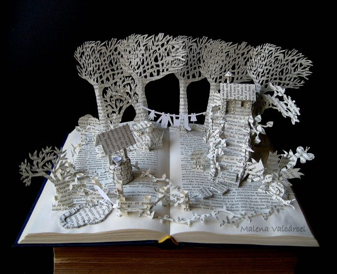 A House in a Field,I Upcycle Old Books By Turning Them Into Magical Sculptures