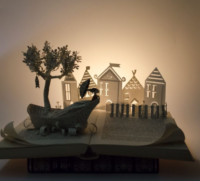 going-to-a-town-book-sculpture,I Upcycle Old Books By Turning Them Into Magical Sculptures
