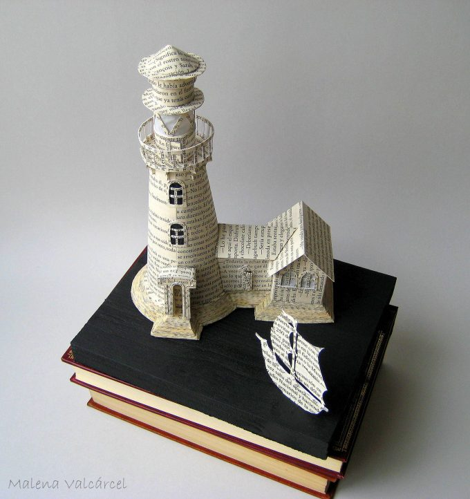 lighthouse-book-sculpture,I Upcycle Old Books By Turning Them Into Magical Sculptures