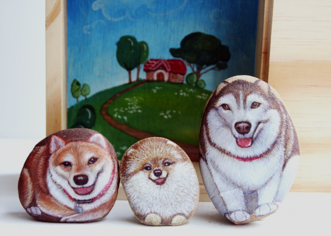 Cute Dogs Stone Painting By Is.ideastone