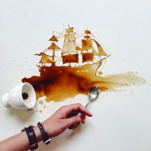 Giulia Bernardelli takes spilt coffee and turns it into Beautiful art.#artpeople
