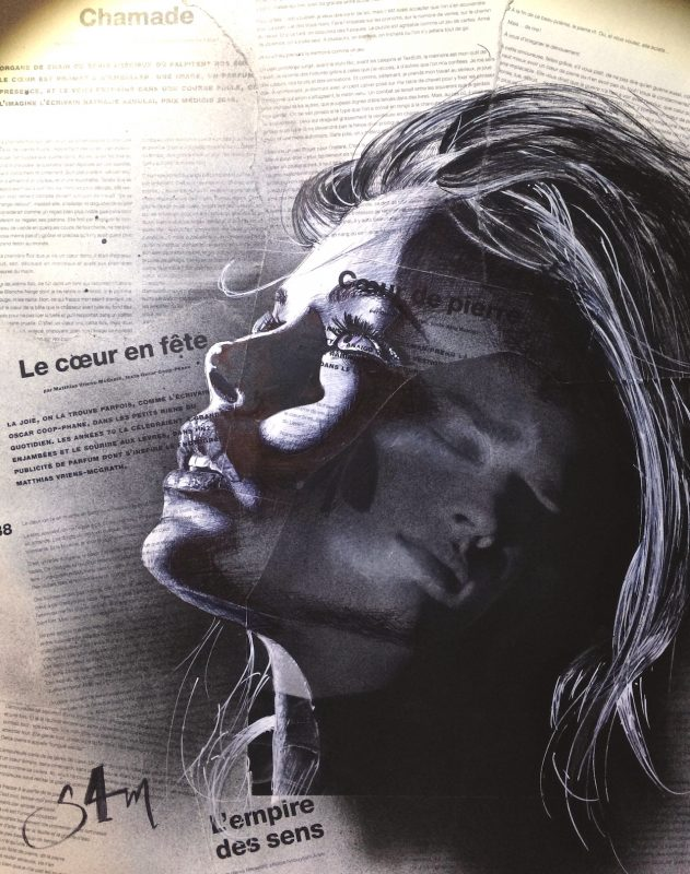 ballpen portraits on newspapers | Sam Guillemot