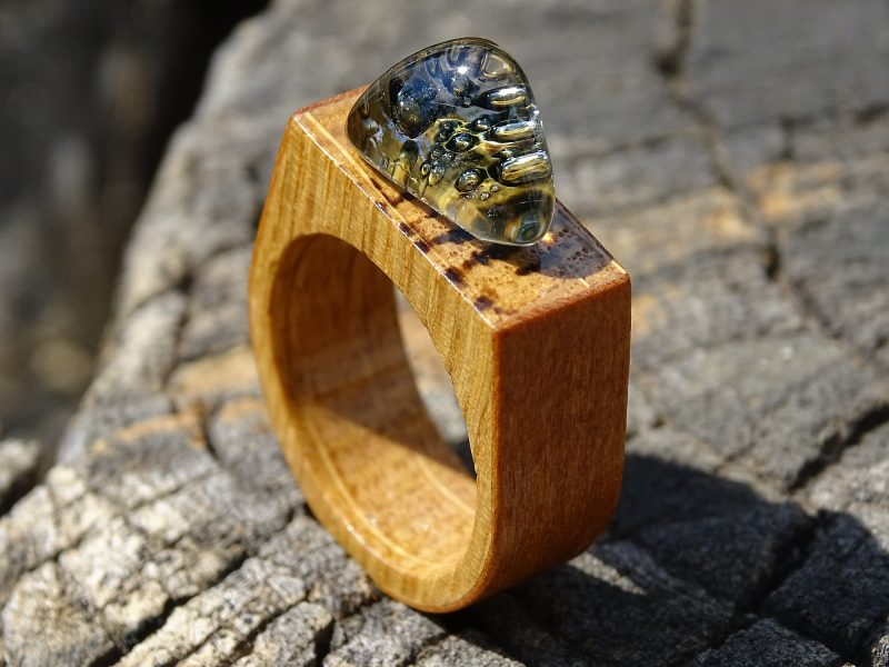 Sculptural Glass Landscapes Combined with Natural Wood- Wooden Rings to Wear on your Fingers