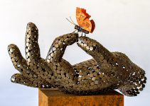Welded steel sculpture by Georgie Poulariani