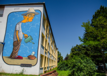 17 murals on the grey school outer walls @ Sibiu International Street ART Festival 2017