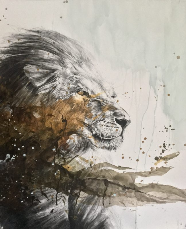 Mixing realistic drawings drawn with charcoal and abstraction | Cédric Peltier