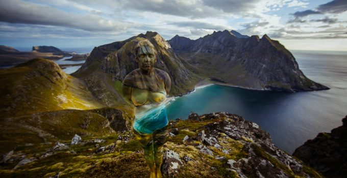 Human Body melting in Arctic Circle landscape by body painter and photographer Vilija Vitkute