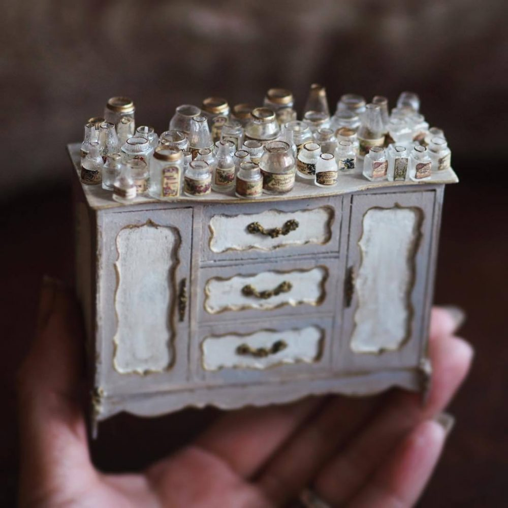 Miniature Antique Dollhouse Furniture by Japanese Artist Kiyomi.