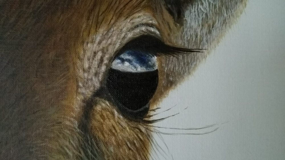 Antelope painting, close up,Erik Flothmann - Paintings