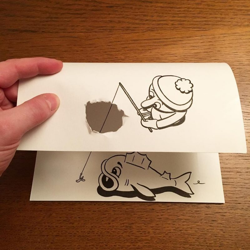 Danish artist HuskMitNavn creates clever three-dimensional drawings.