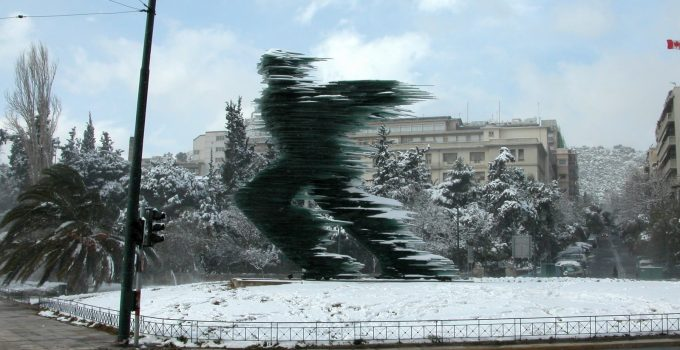 40-foot-tall public sculpture created by Greek artist Costas Varotsos.