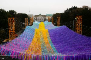 Colorful Ribbons Wave Across the Former Footprint of the Berlin Wall